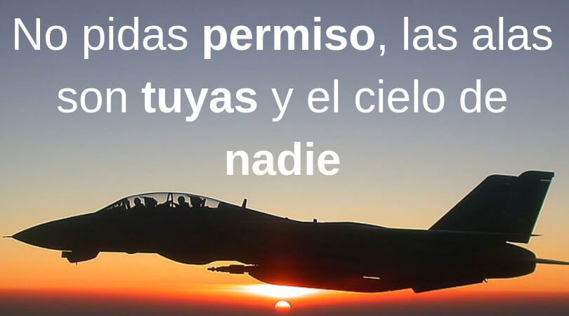 No pidas permiso las alas son tuyas y el cielo de nadie - Frases de fortaleza
