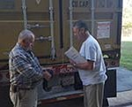 Dallas Van Lear and Lenny Tolley monitor fumigant concentrations during our most recent fumigation for Well of Hope.
