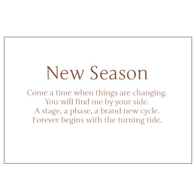Poem from New Season