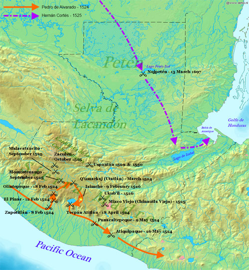 Mapa de la invasion española a Guatemala