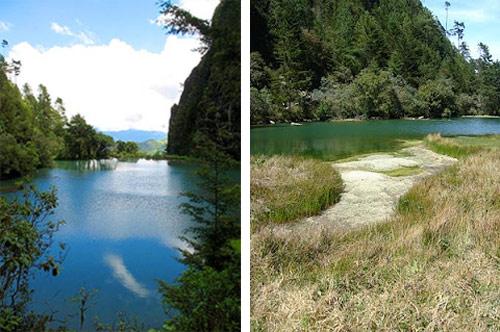 Laguna Magdalena por la mañana y al medio día, Huehuetenango, Guatemala