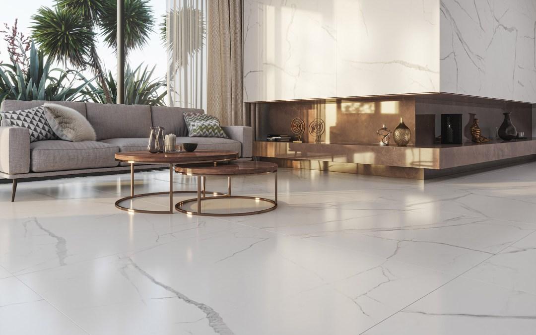 Sempre em alta, porcelanatos marmorizados ganham novos formatos e designs exclusivos
