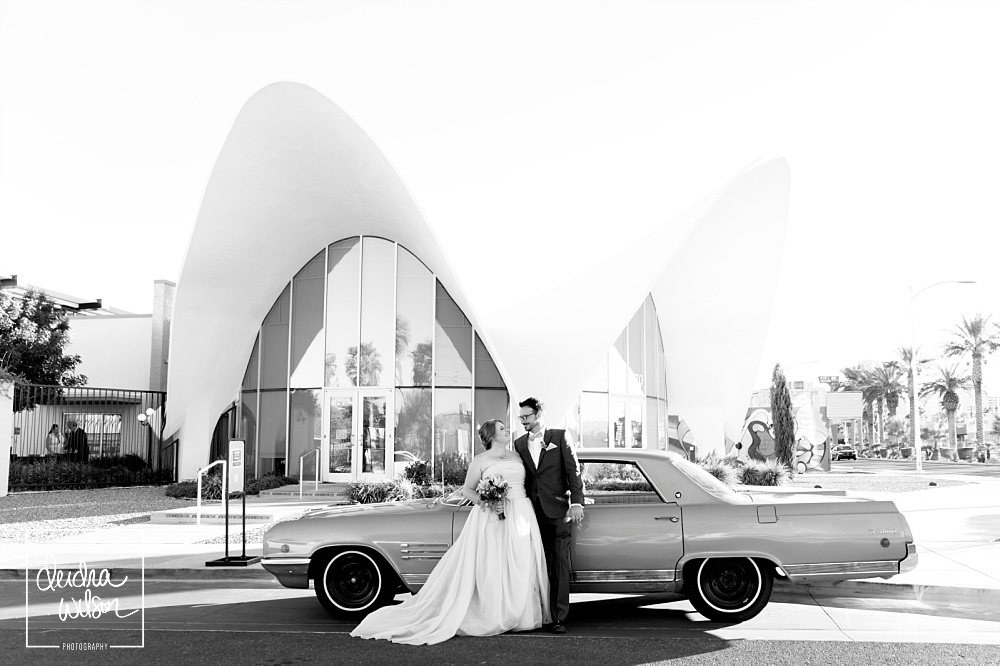 wedding at neon museum