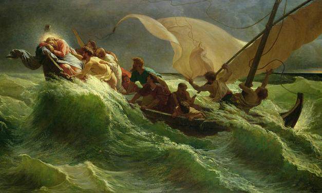Jesus is asleep in the boat