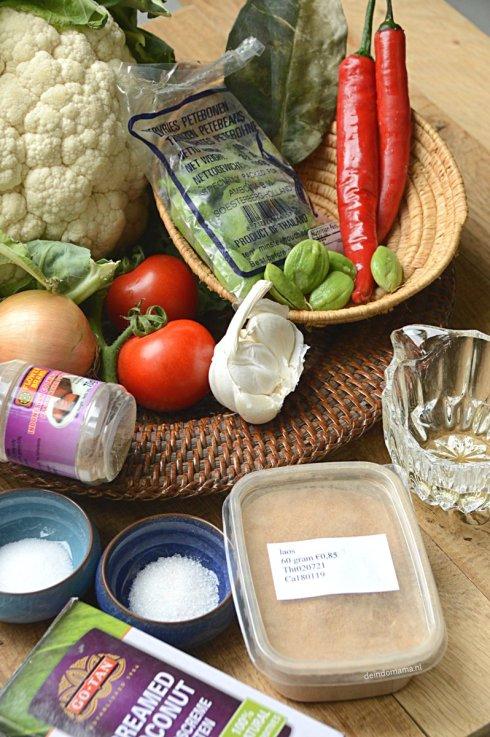 ingrediënten sambal goreng bloemkool