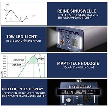 1000 Wh/270000 mAh Rumia Tragbare Powerstation, 230V AC, 2 DC-Port, 3 USB, QC 3.0 und USB Typ C Mobiler Energiespeicher Solar Generator Lithium Ionen Power Station für Reise Camping Emergency - 5