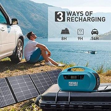 AUTOGEN Tragbare PowerStation Explorer 222Wh 60000mAh, mobiler energiespeicher solar generator lithium ionen power statione, 220V AC,Aufladung über Solarpanel für Camping Emergency, Backup - 4