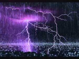 rain and thunder storm an hour o