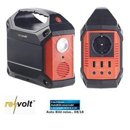 reVolt Powerstation Solar: Powerbank & Solar-Konverter, 42 Ah, 155 Wh, 230 V, 12 V, USB, 180 Watt (Solarconverter) - 1