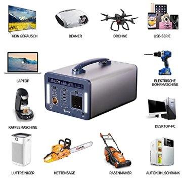 Rumia 1000Wh Powerstation, 230V AC, 2 DC-Port, 3 USB, QC 3.0 und USB Typ C, LED SOS Licht, 230V Mobiler Stromspeicher, Mobiler Energiespeicher Solar Generator für Reise, Camping, Garten, Emergency - 2