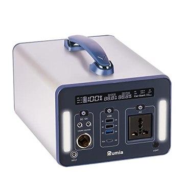 Rumia 1000Wh Powerstation, 230V AC, 2 DC-Port, 3 USB, QC 3.0 und USB Typ C, LED SOS Licht, 230V Mobiler Stromspeicher, Mobiler Energiespeicher Solar Generator für Reise, Camping, Garten, Emergency - 1