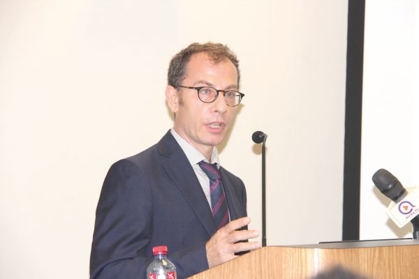 Dr Antonio Guiffrida (inset), World Bank Programme Leader for Ghana making his presentation. Picture: BENEDICT OBUOBI