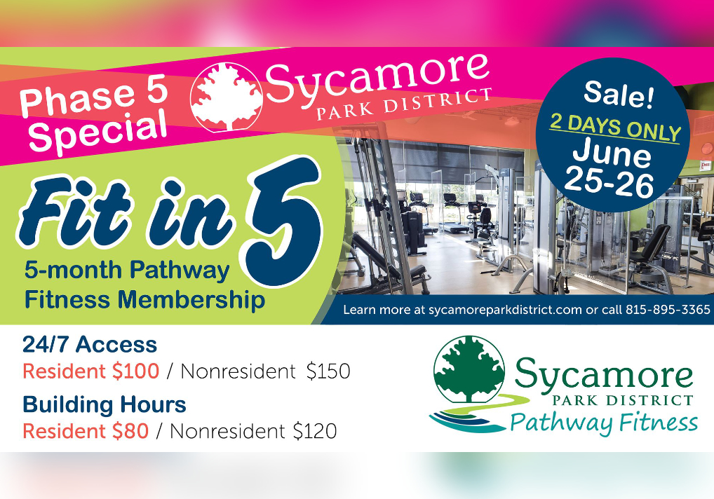 Mark Your Calendar - Fri & Sat, Jun 25 & 26 Save Big On A 5-Month Pathway Fitness Membership At Sycamore Park District
