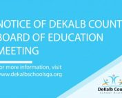 DeKalb County Board of Education Meeting notice banner