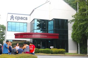 attendees standing in front of CPACS building