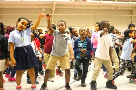 Hambrick Elementary students dance in gym