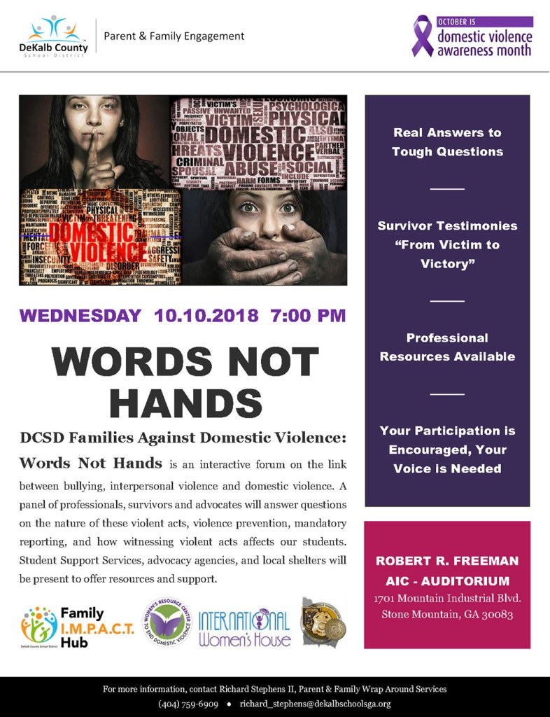 words not hands event on October 10, 2018