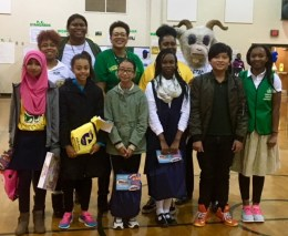 Freedom Rams Read winners smile with books