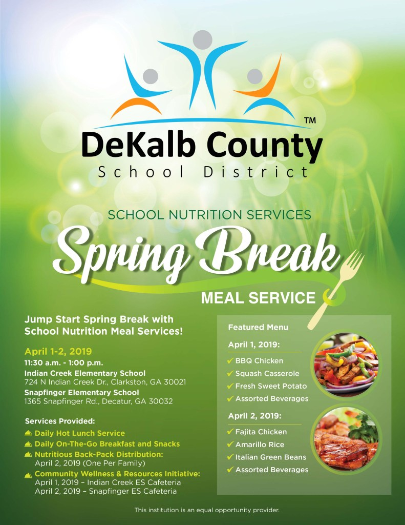 spring break meals 2019 flyer