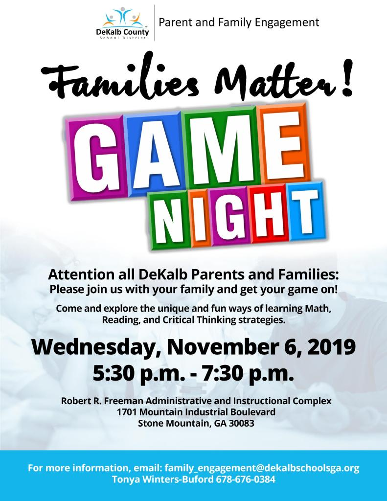Families Matter game night