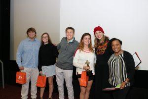 winners of dcsd student film festival with teacher