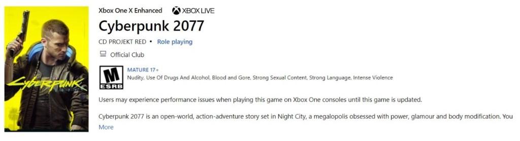 Xbox Store - Cyberpunk 2077
