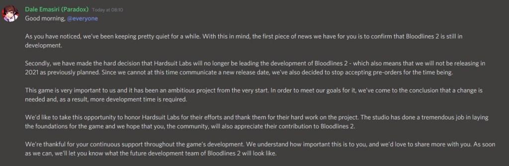Vampire: The Masquerade – Bloodlines 2 - retraso