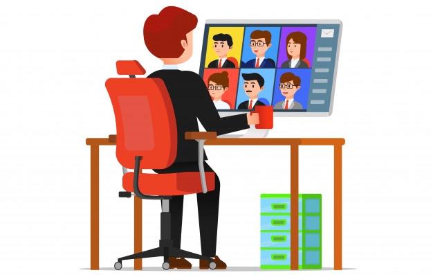 Hombre haciendo videoconferencia