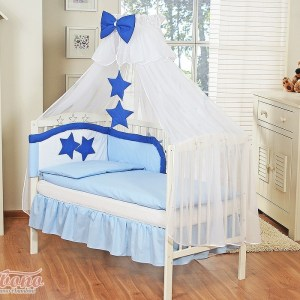 3-Delig Bedset Collection of Stars Voile Blauw