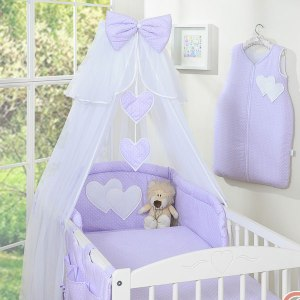 3-Delig Bedset Two Hearts Voile Dots/Paars