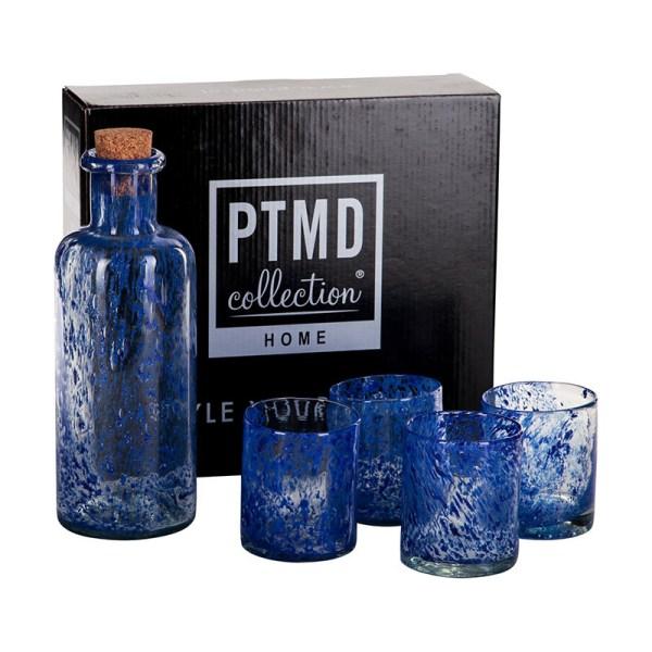 Waterfles + Glazen set - Blauw PTMD - Ga naar Dekbed-Discounter.nl & Profiteer Nu