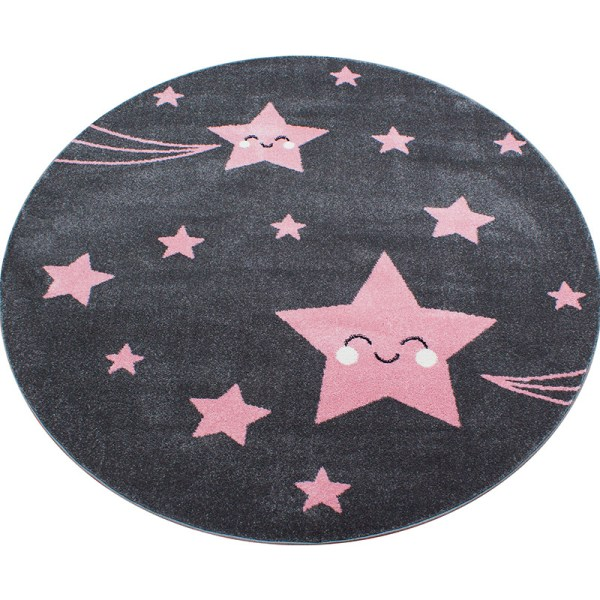 Vloerkleed - Happy Stars - Rond - Roze Kids Sterren 120 x 120 cm - Ga naar Dekbed-Discounter.nl & Profiteer Nu