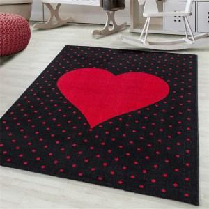 Bambi Vloerkleed - Dots & Heart - Rechthoek - Rood 160 x 230 cm