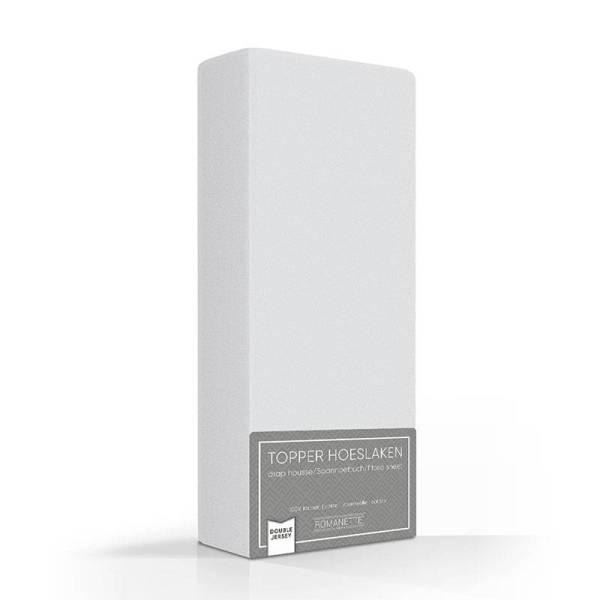Romanette Luxe Dubbel Jersey Topper Hoeslaken - Zilver 140 x 200/210/220 cm