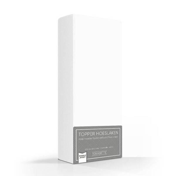 Luxe Dubbel Jersey Topper Hoeslaken - Wit Romanette 80/90/100 x 200/210/220 cm - Ga naar Dekbed-Discounter.nl & Profiteer Nu