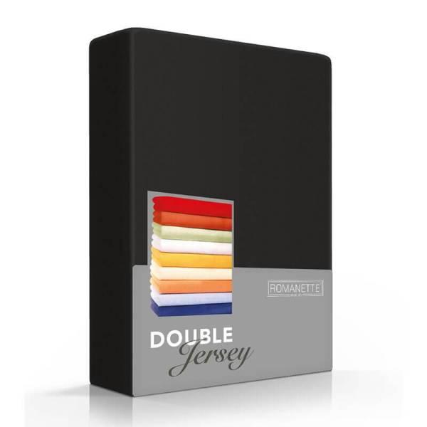 Romanette Luxe Dubbel Jersey Hoeslaken - Zwart 120/130 x 200/210/220