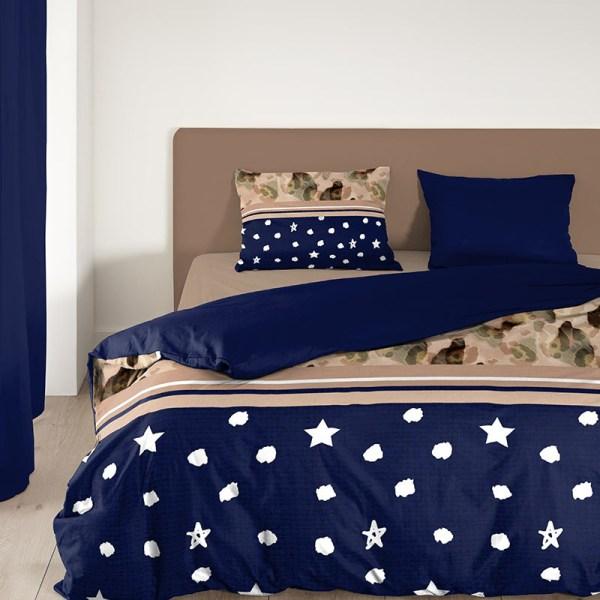 Dekbedovertrek Kiki 1-persoons (140x200/220 cm) - Microvezel - Sterren - Blauw
