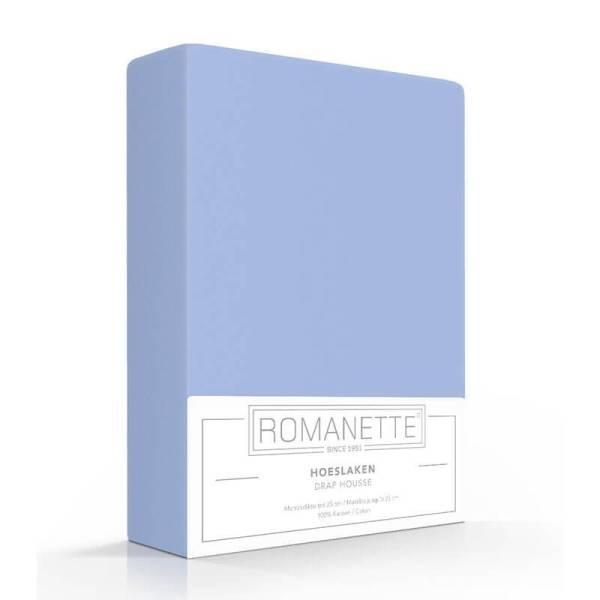 Luxe Verkoelend Hoeslaken Katoen - Blauw Romanette 80 x 200 - Ga naar Dekbed-Discounter.nl & Profiteer Nu