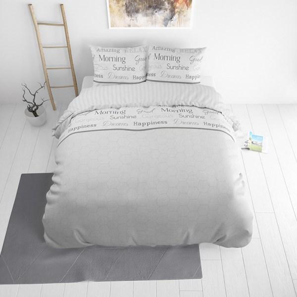 Dekbedovertrek Amazing Morning 1-persoons (140x220 cm) - Katoen - Tekst - Wit - Ga naar Dekbed-Discounter.nl & Profiteer Nu
