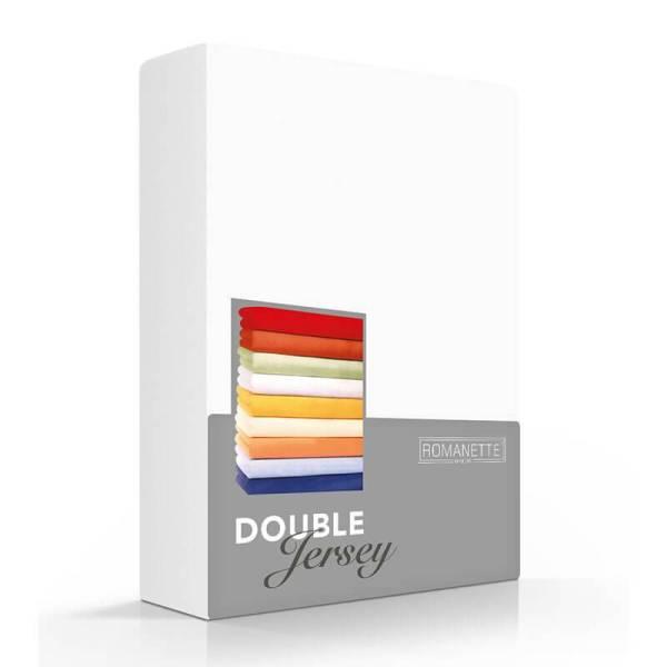 Luxe Dubbel Jersey Hoeslaken - Wit Romanette 80/90/100 x 200/210/220 cm - Ga naar Dekbed-Discounter.nl & Profiteer Nu