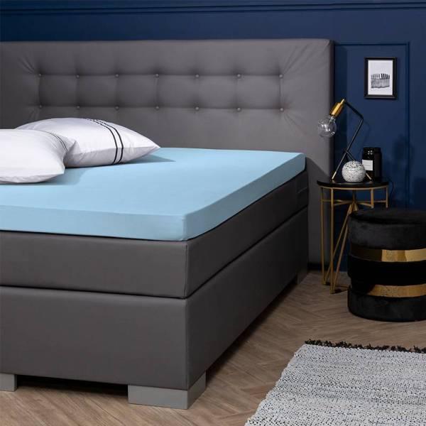 Presence Egyptisch Katoenen Jersey Topper Hoeslaken - Blauw 70/80 x 200/210/220 cm