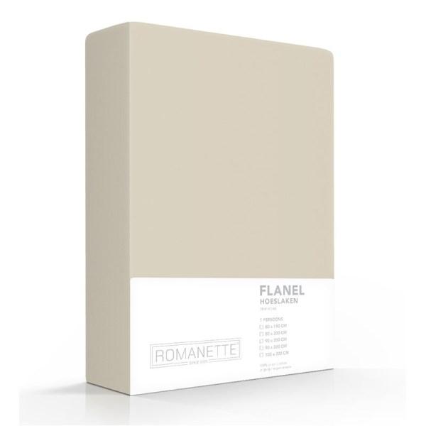 Hoeslaken Flanel - 80x200 cm - Zand - Romanette - Ga naar Dekbed-Discounter.nl & Profiteer Nu