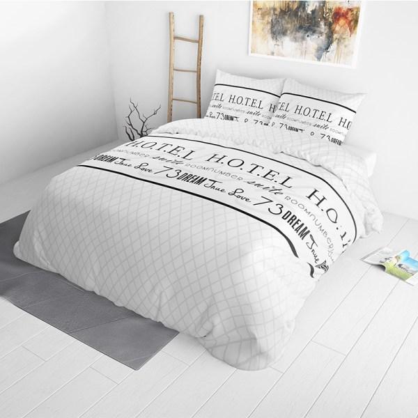 Dekbedovertrek Room Number 1-persoons (140x220 cm) - Katoen - Tekst - Wit - Ga naar Dekbed-Discounter.nl & Profiteer Nu
