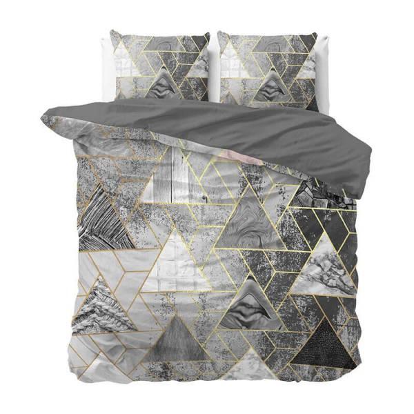Dekbedovertrek Luxury Triangle 1-persoons (140x220 cm) - Katoen - Patroon - Grijs - Ga naar Dekbed-Discounter.nl & Profiteer Nu