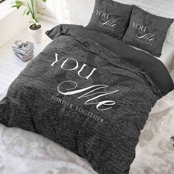Sleeptime Elegance Love For You And Me - Antraciet 1-persoons (140 x 220 cm + 1 kussensloop) Dekbedovertrek