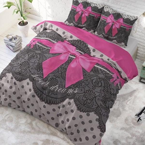 Dekbedovertrek Romance Pink 1-persoons (140x220 cm) - Katoen - Tekst