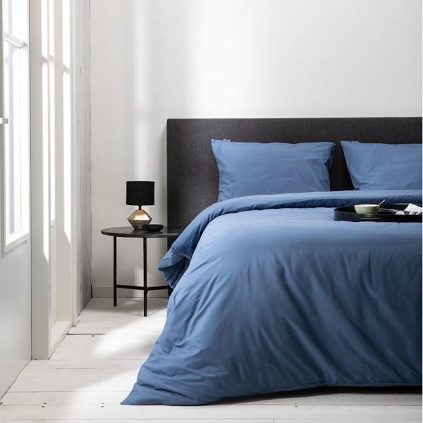 Fresh & Co Hotel Uni - Blauw 1-persoons (140 x 220 cm + 1 kussensloop) Dekbedovertrek