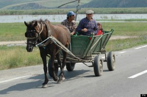 ROMANIA Northern Dobtuja Harsova Traditional horse drawn cart carring people along the road