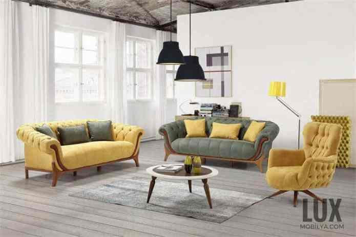 Hardal sarısı koyu yeşil koltuklar