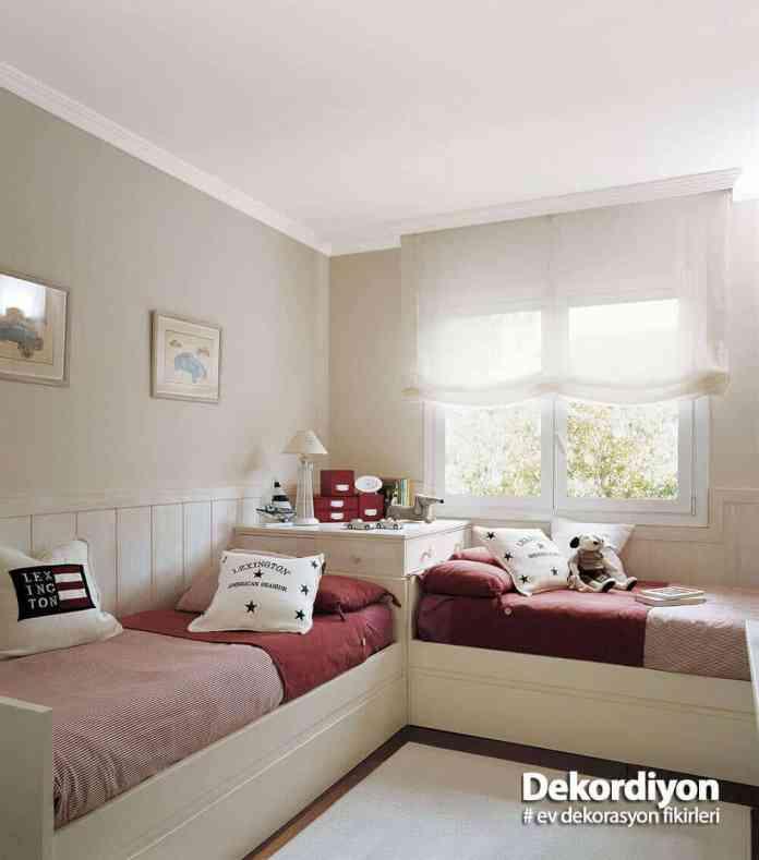 Küçük odalarda kardeş odası dekorasyonu